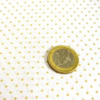 Tissu patchwork blanc pois beige