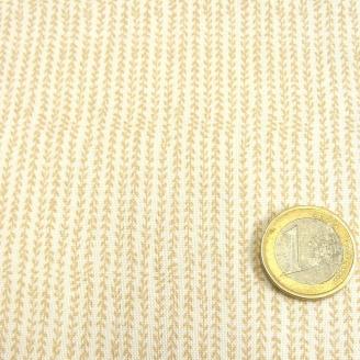 Tissu patchwork blanc impression beige rayures