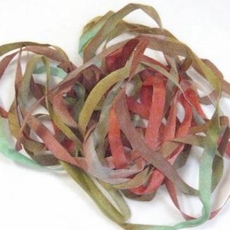 Ruban de soie 7mm S.Francisorange rouge vert 28
