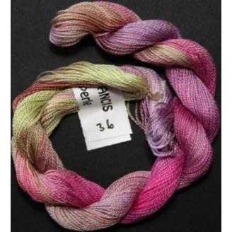 Coton perlé fin de Stef Francis mauve rose vert 36