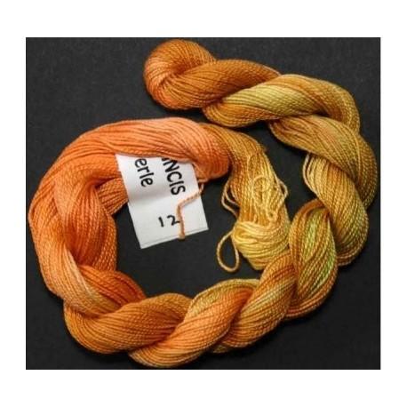 Coton perlé fin de Stef Francis vert orange 12