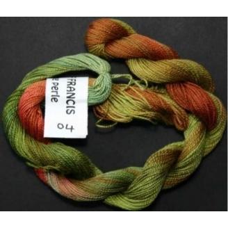 Coton perlé fin de Stef Francis vert rouge 04