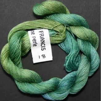 Coton perlé fin de Stef Francis vert bleu 18
