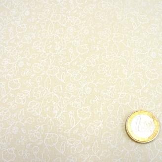 Tissu patchwork écru impression blanche fleurs