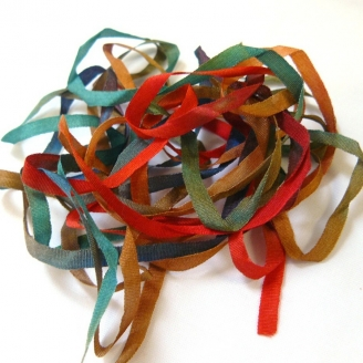 Ruban de soie S.Francis vert/rouge/bleu 4mm